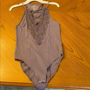 American Eagle Purple Body Suit w/ Lacey Cleavage